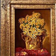 تابلو فرش طرح گل و گلدان