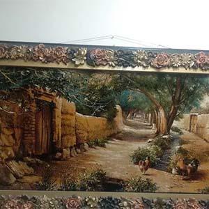 تابلو فرش خاص با طرح کوچه باغ